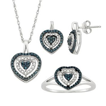 1/10 Carat T.W. Blue & White Diamond Sterling Silver Heart Halo Pendant Necklace, Drop Earring & Ring Set