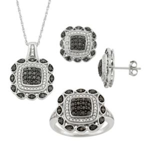 1 Carat T.W. Black & White Diamond Sterling Silver Square Pendant Necklace, Stud Earring & Ring Set