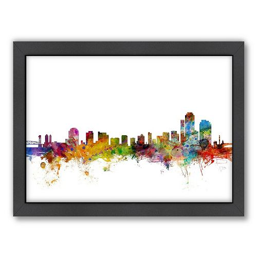 Americanflat Michael Tompsett ''Wilmington Skyline II'' Framed Wall Art
