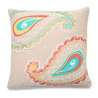 Ashbury Spring Embroidered Paisley Throw Pillow