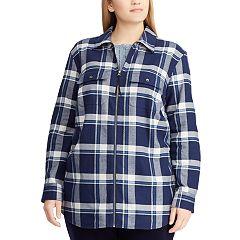 Plus Size Chaps Plaid Flannel Jacket