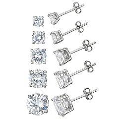 Cubic Zirconia Sterling Silver Stud Earring Set