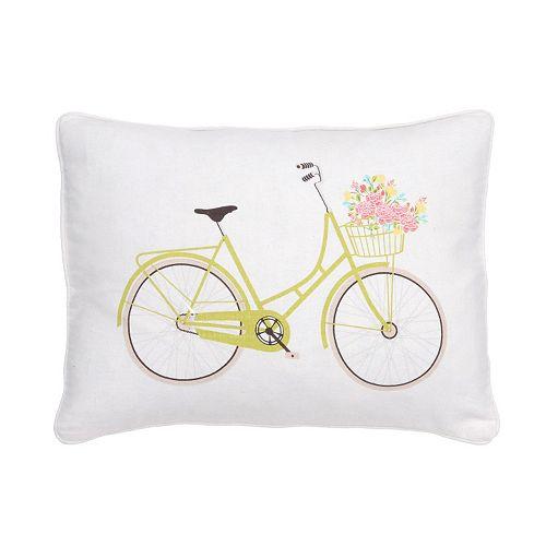 Vintage Rose Garden Bicycle Throw Pillow