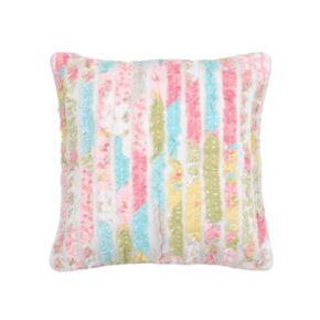 Vintage Rose Garden Ruffle Throw Pillow