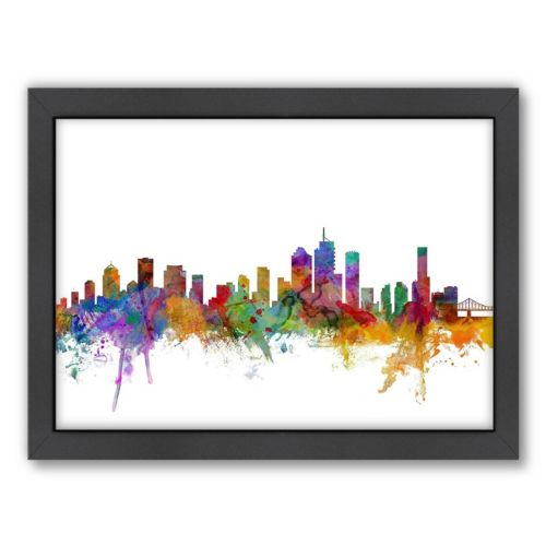 Americanflat Michael Tompsett ''Brisbane Skyline II'' Framed Wall Art