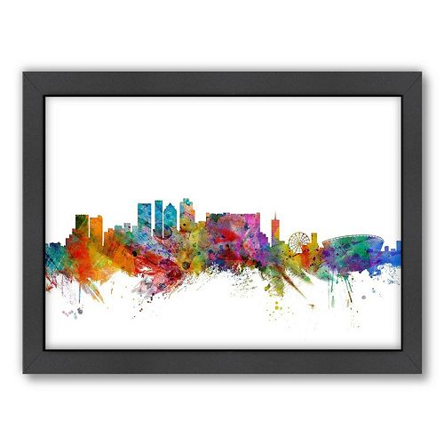 Americanflat Michael Tompsett ''Cape Town Skyline II'' Framed Wall Art