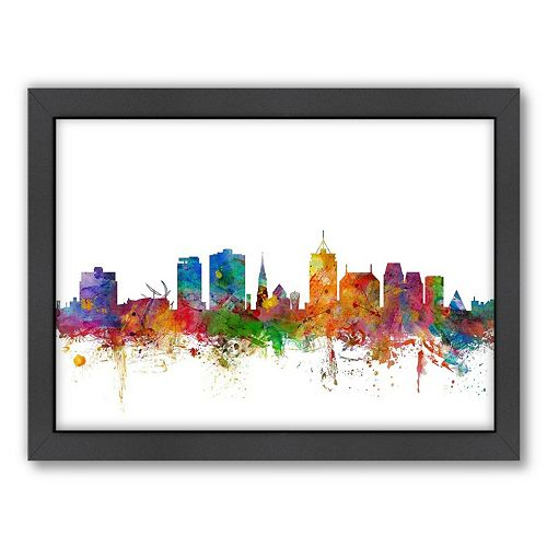 Americanflat Michael Tompsett ''Christchurch Skyline'' Framed Wall Art
