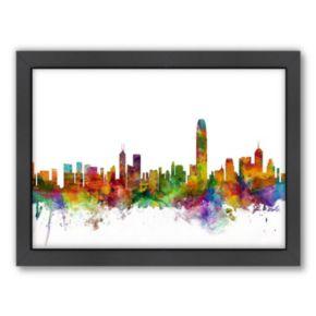 Americanflat Michael Tompsett ''Hong Kong Skyline I'' Framed Wall Art
