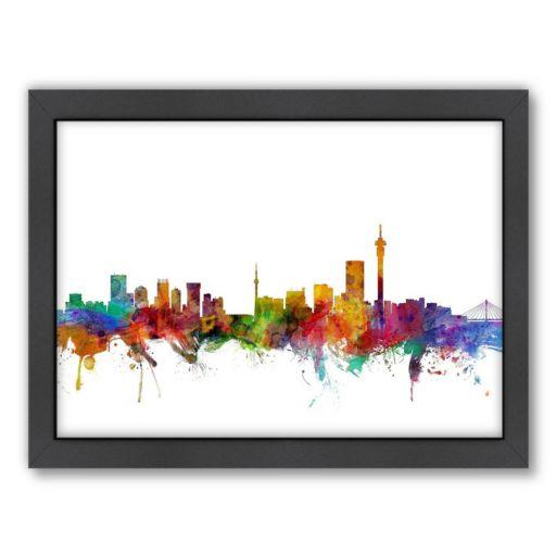 Americanflat Michael Tompsett ''Johannesburg Skyline II'' Framed Wall Art