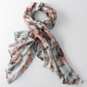 Simply Vera Vera Wang Floral Lurex Checked Oblong Scarf