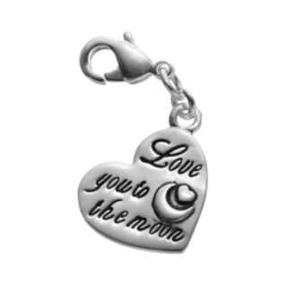 """Blue La Rue Silver-Plated """" Love You To The Moon"""" Heart Charm"""