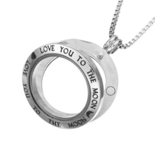 "Blue La Rue Stainless Steel ""Love You To The Moon"" 1-in. Round Locket"