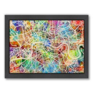 Americanflat Michael Tompsett ''London Street Map I'' Framed Wall Art