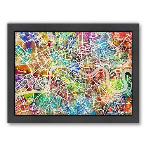 Americanflat Michael Tompsett ''London Street Map I'' Framed Wall Art
