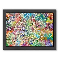 Americanflat Michael Tompsett ''Paris Street Map'' Framed Wall Art