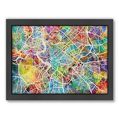 Americanflat Michael Tompsett ''Rome Street Map'' Framed Wall Art