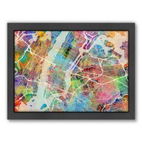 Americanflat Michael Tompsett ''New York City Street Map'' Framed Wall Art