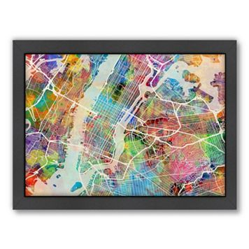 Americanflat Michael Tompsett ''New York City Street Map'' Framed Wall Art