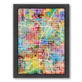 Americanflat Michael Tompsett Neon ''Las Vegas Street Map'' Framed Wall Art