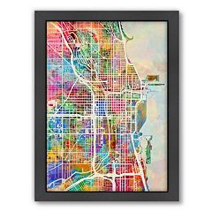 Americanflat Michael Tompsett ''Chicago Street Map'' Framed Wall Art