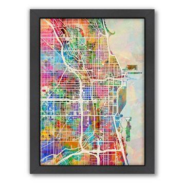 Americanflat Michael Tompsett ''Chicago Street Map'' Framed Wall Art