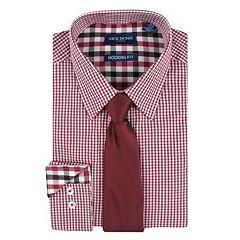 Men's Nick Dunn Modern-Fit Patterned Easy-Care Spread-Collar Dress Shirt & Tie Set