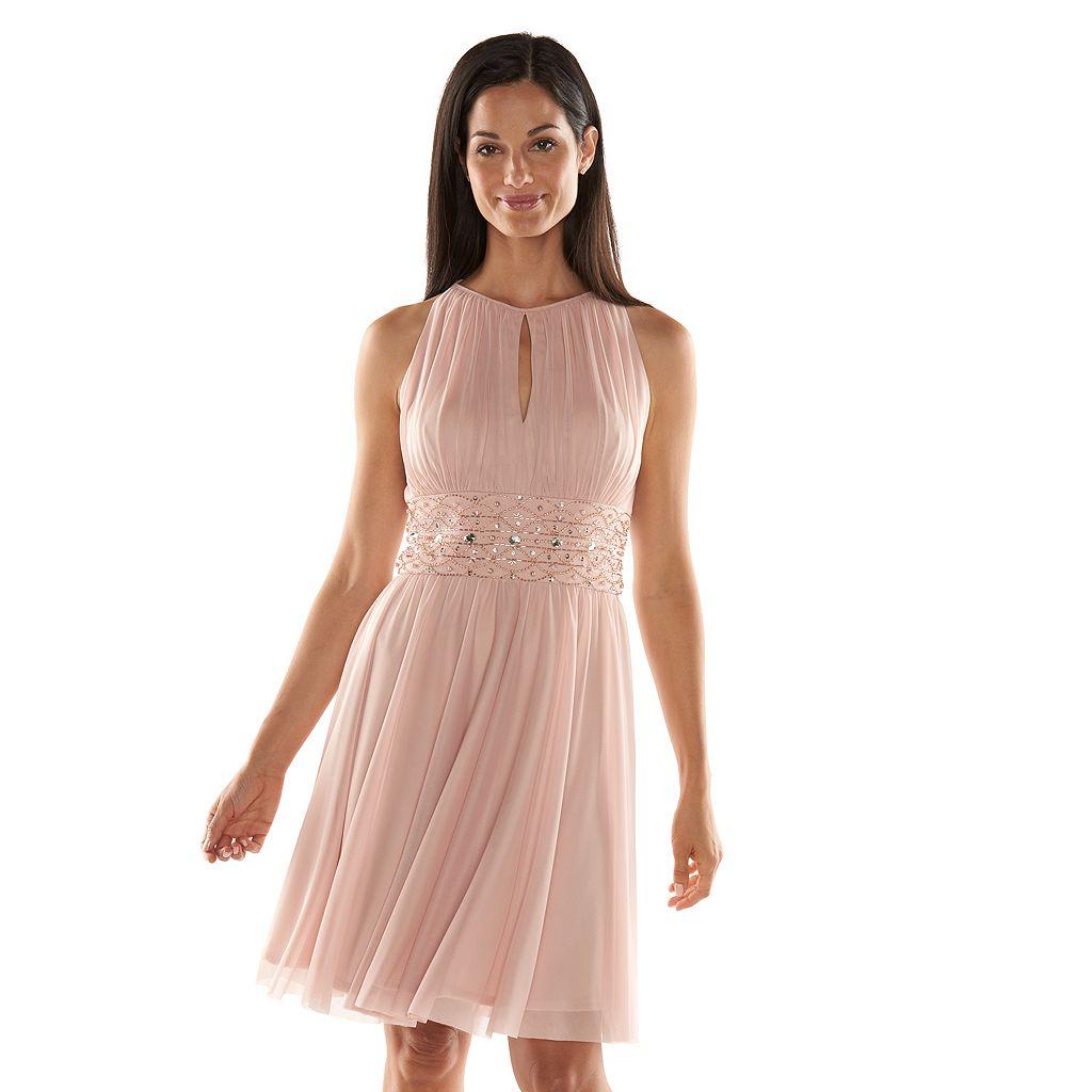 Jessica Howard Beaded Fit & Flare Halter Dress - Women's