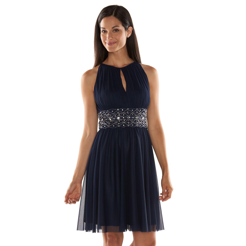 Delightful Jessica Howard Beaded Fit U0026 Flare Halter Dress   Womenu0027s Awesome Ideas