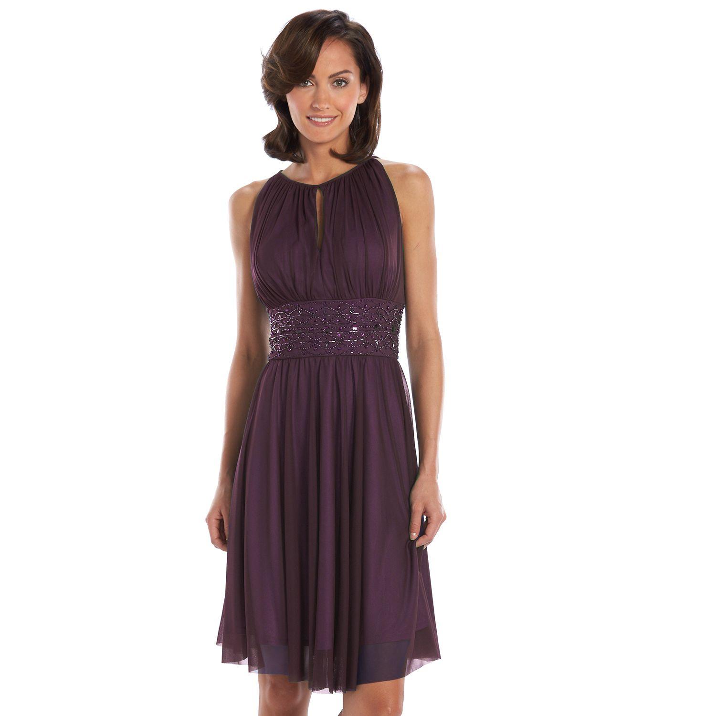 Jessica Howard Beaded Fit U0026 Flare Halter Dress   Womenu0027s Idea