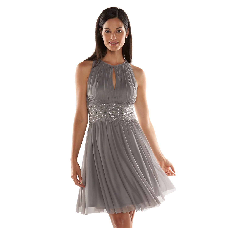 Jessica Howard Beaded Fit U0026 Flare Halter Dress   Womenu0027s