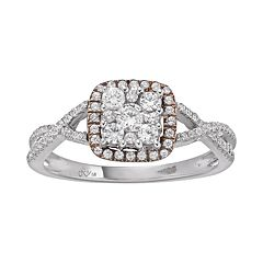 1/2 Carat T.W. Diamond 10k White Gold & 10k Rose Gold Over 10k White Gold Square Halo Ring