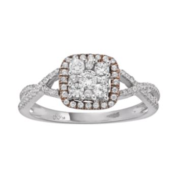 1/2 Carat T.W. Diamond 10k White Gold and 10k Rose Gold Over 10k White Gold Square Halo Ring