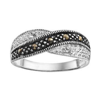 Marcasite & Crystal Sterling Silver Crisscross Ring