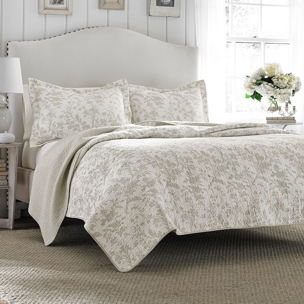 Ashley Lifestyles Amberley Biscuit Quilt Set - Laura ashley bedroom