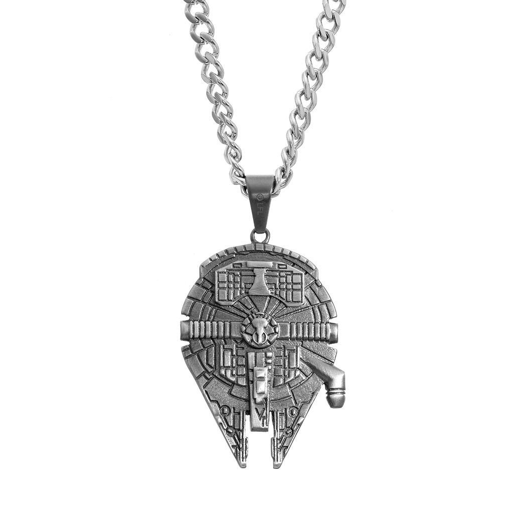 Star Wars Men's Stainless Steel Millennium Falcon Pendant Necklace