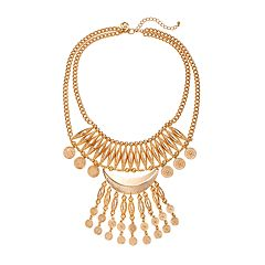 GS by gemma simone Molten Metals Collection Crescent & Fringe Bib Necklace