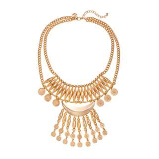 GS by gemma simone Molten Metals Collection Crescent & Fringe Bib Necklace