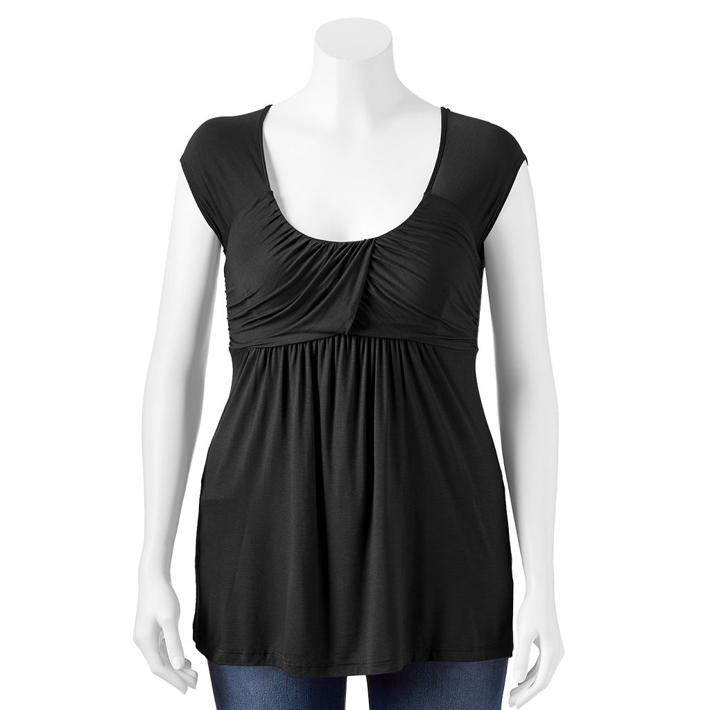 Soprano Twist Front Empire Top - Juniors' Plus