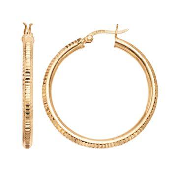 Primavera 24k Gold Over Silver Textured Hoop Earrings