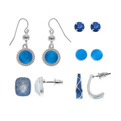 Ball & Rectangle Stud, J-Hoop & Drop Earring Set