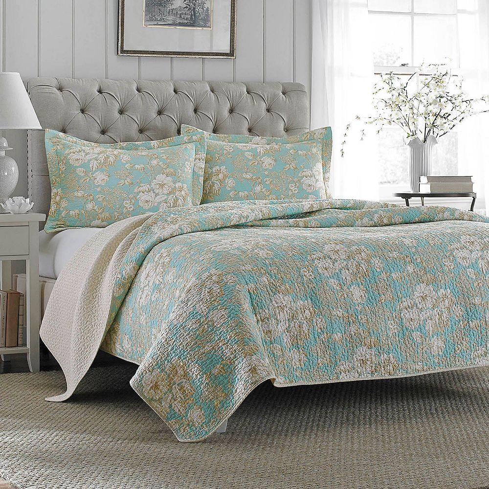 Laura ashley lifestyles brompton serene reversible quilt set gumiabroncs Choice Image