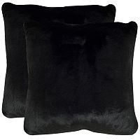 Safavieh 2-piece Faux Black Mink Throw Pillow Set