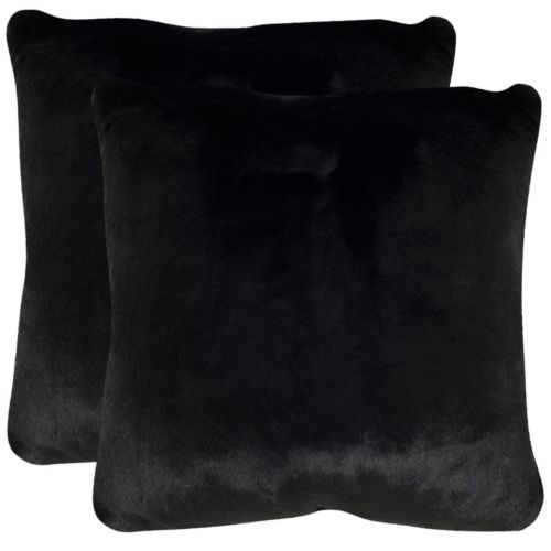 Safavieh 2-piece Faux Black Mink Throw Pillow Set