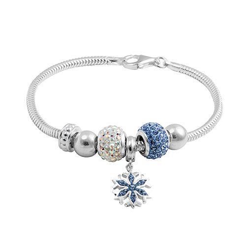Disney's Frozen Crystal Sterling Silver Snake Chain Bracelet & Snowflake Charm & Bead Set