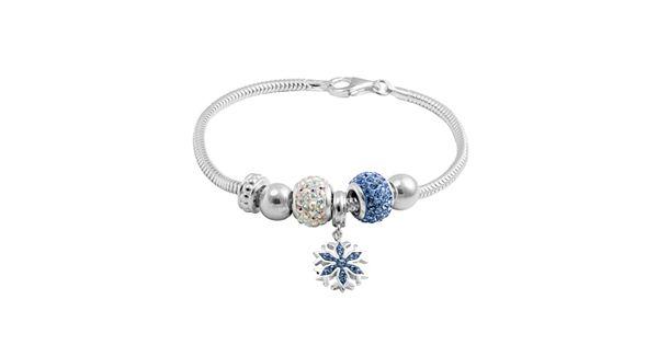 Snowflake Charm Bracelet: Disney's Frozen Crystal Sterling Silver Snake Chain