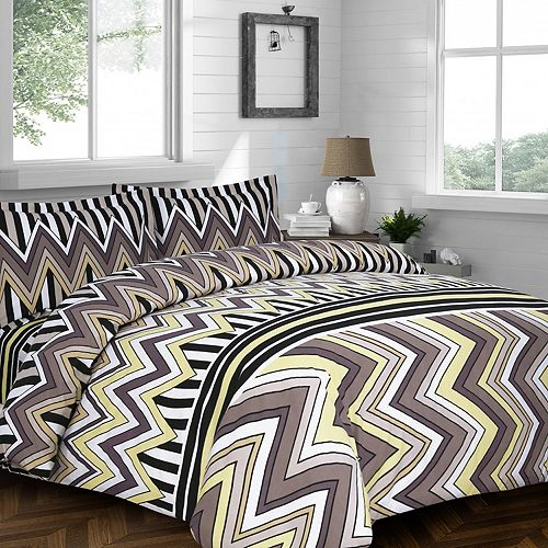 Chevron Stripe 3-pc. Flannel Luxury Duvet Cover Set