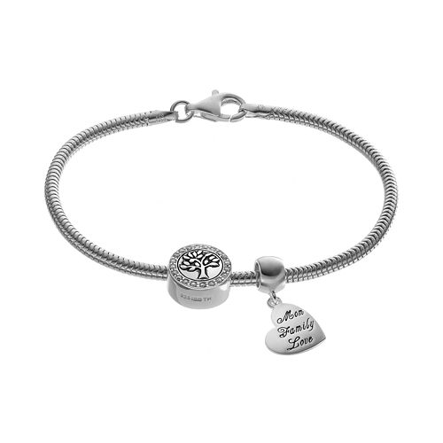 Individuality Beads Crystal Sterling Silver Snake Chain Bracelet, Inspirational Heart Charm & Tree Bead Set