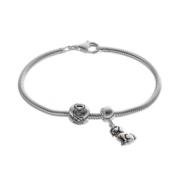 Individuality Beads Sterling Silver & 14k Gold Over Silver Snake Chain Bracelet, Dog Charm & Heart Bead Set