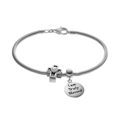 """Individuality Beads Cubic Zirconia Sterling Silver Snake Chain Bracelet, """"Blessed"""" Disc Charm & Cross Bead Set"""