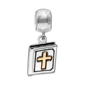 Individuality Beads 14k Gold Over Silver and Sterling Silver Cross Bible Charm